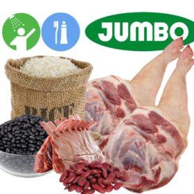 Combo jumbo de alimentos básicos, pescado, especias, condimento, jugo, refresco, aseo y cuidado personal.